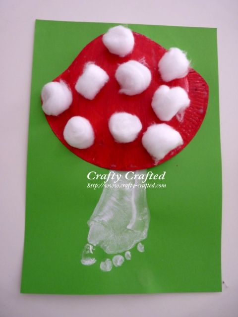 Mushroom ~ paper plate for top, cotton balls for spots and foot print for stem! AWESOME!