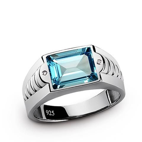 925 Sterling Silver Men's Ring with Diamonds and Topaz Gemstone