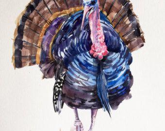 turkey art turkey watercolor turkey tom print by AnnetteBennett