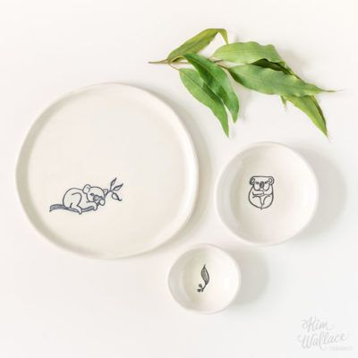 Bush Prints Collection ~ gift set ~ koala    A collaboration between artist Renée Treml and Kim Wallace Ceramics ~ Handmade Australian Ceramics
