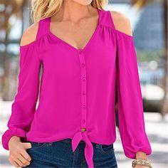 Aliexpress.com: Comprar Awaytr Elegante Sólido Del Otoño Camisa de La Blusa de Manga Larga para Mujer Atractiva Cuello En V de Trabajo Femenina Blusa de La Gasa Más Tamaño Sueltan Tops 3XL de camisa de la blusa fiable proveedores en Awaytr Co. Ltd Store