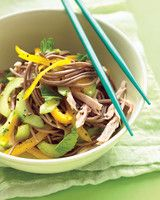 Cold Soba-Noodle Salad with Chicken, Peppers, and Cucumber | Martha Stewart Living - Pulling the meat from a rotisserie chicken first thing means it's ready to go anytime you want. Toss with fresh veggies, soba noodles, and our quick sesame-oil sauce for a quick, smoky meal in minutes.