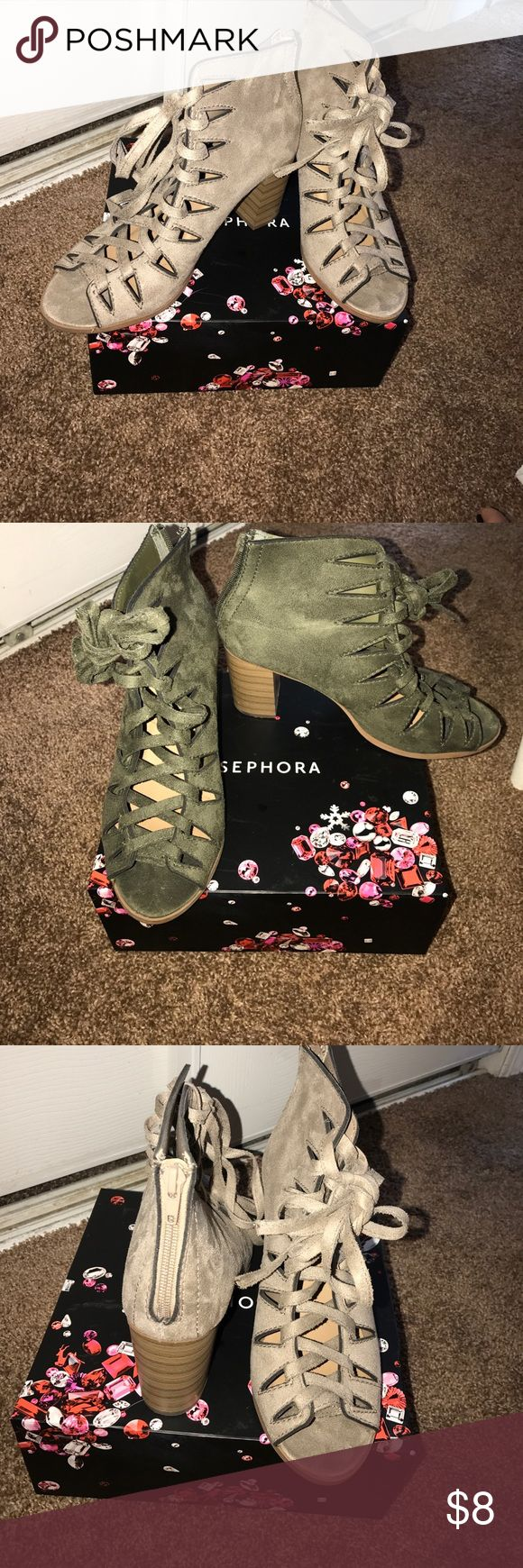 Beige Zip up booties Almost like new!!! Worn a few times... no stains or tears... very comfortable booties... I have these booties in beige and green... Soda Shoes Ankle Boots & Booties
