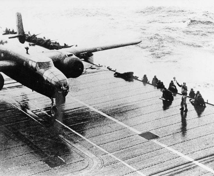 A B-25 destined to bomb Japan on the deck of the USS Hornet for the Doolittle Raid, 18 April 1942