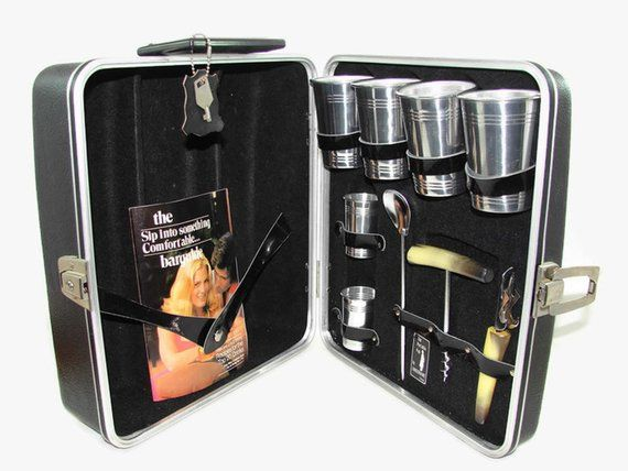 Portable Pub Travel Bar Cocktail Set by Londonaire with Key
