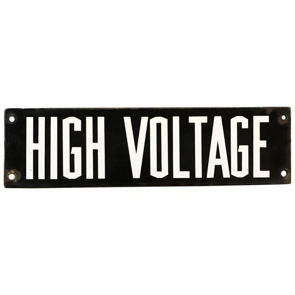Vintage Industrial Enamel High Voltage Sign (315 ILS) ❤ liked on Polyvore featuring home, home decor, wall art, novelty signs and enamel sign