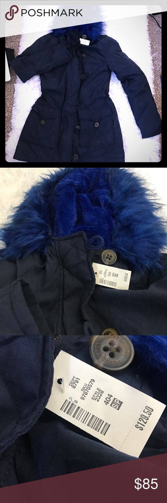Aero Prince & Fox Sherpa Lined Parka NWT Blue Fur Brand new with tags! Removable faux fur trim Aeropostale Jackets & Coats
