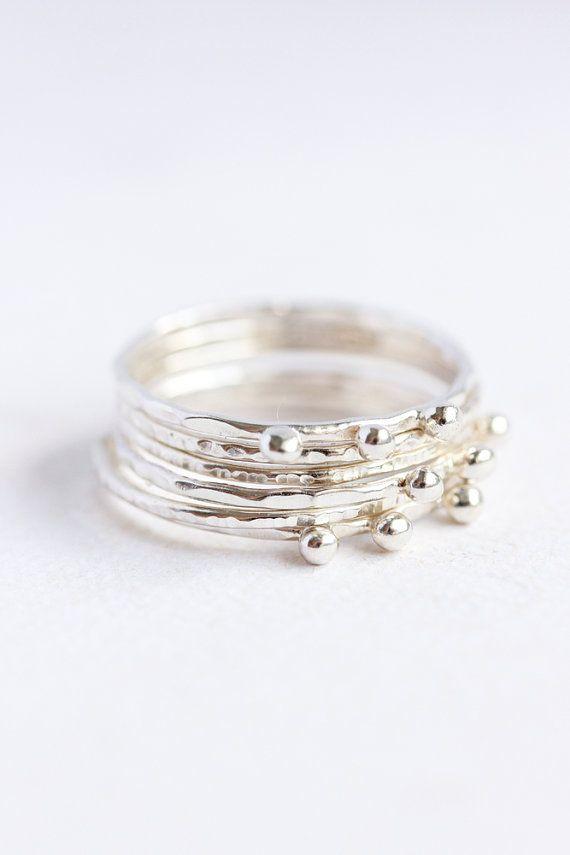 Thin sterling silver stacking rings, organic, eco friendly, woodland, textured ring, thin silver band, minimal jewelry, stack ring   { D e t a i l