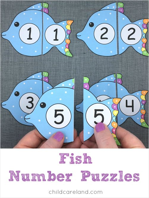 Fish number puzzles for number recognition and review.