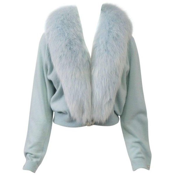 Preowned Blue Cashmere/fox Cardigan (£355) ❤ liked on Polyvore featuring tops, cardigans, blue, embellished cardigan, cashmere top, blue top, cardigan top and fur trim cardigan