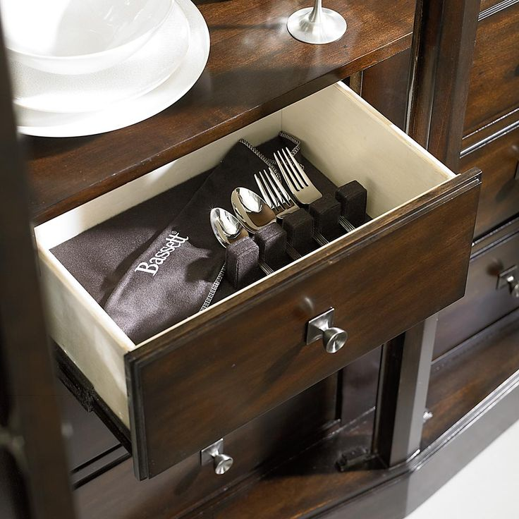 Cosmopolitan China Cabinet By Bassett Furniture Features Storage With Silverware Tray Drawer