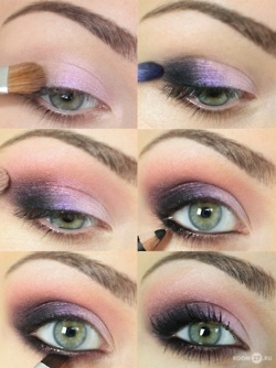 "purple and pink eye shadow- I used Charlotte Ronson All Eye Need Palette ""Dani"" has all these colors. Turned out perfect!"