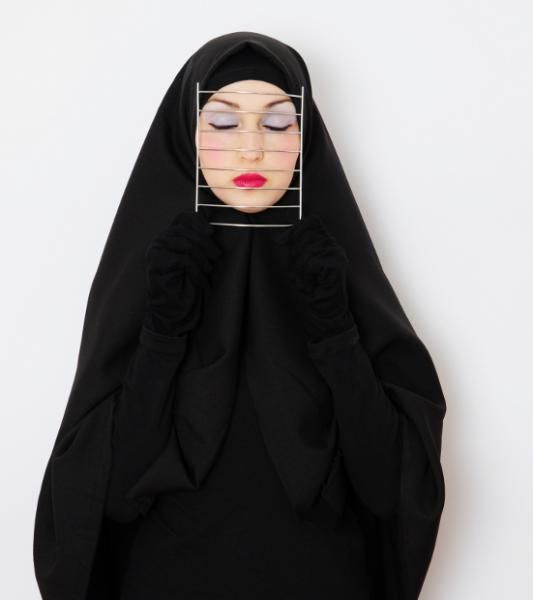 Feriel Bendjama, German Algerian artist who created a series of self-portraits highlighting differing perspectives of the hijab #womensart