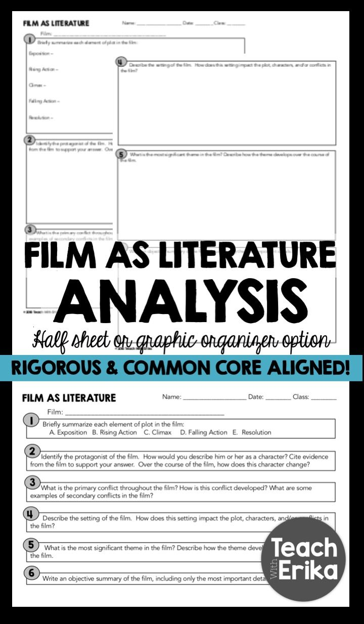 Film As Literature Analysis Sheet Any Movie Literature Lesson