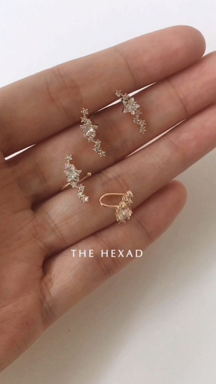 the Constellation ear cuffs and stud earrings by The Hexad ⭐See how they are worn at www.thehexad.com