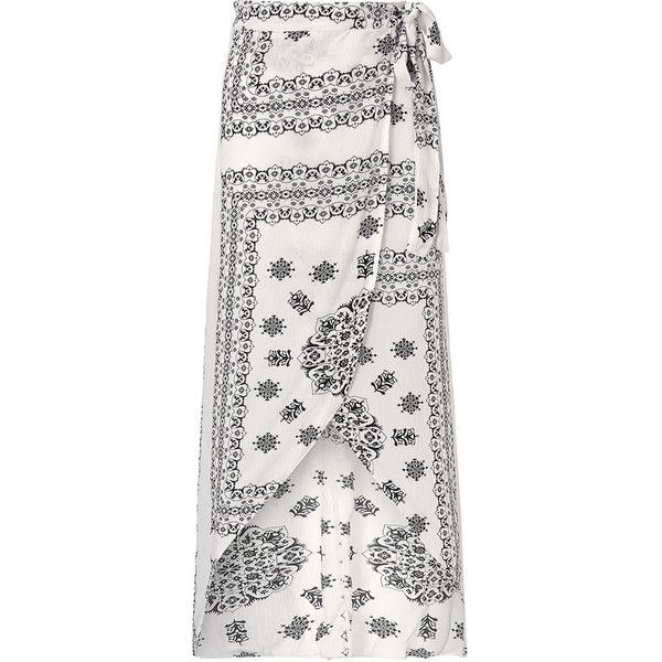 Vintage Sexy Women Pattern Printed Bohemian Slit Irregular Maxi Skirt ($14) ❤ liked on Polyvore featuring skirts, long bohemian skirts, white maxi skirt, boho skirt, patterned maxi skirt and sexy maxi skirt