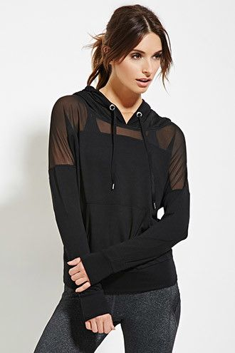 Active Mesh-Paneled Hoodie | Forever 21 - 2000181950