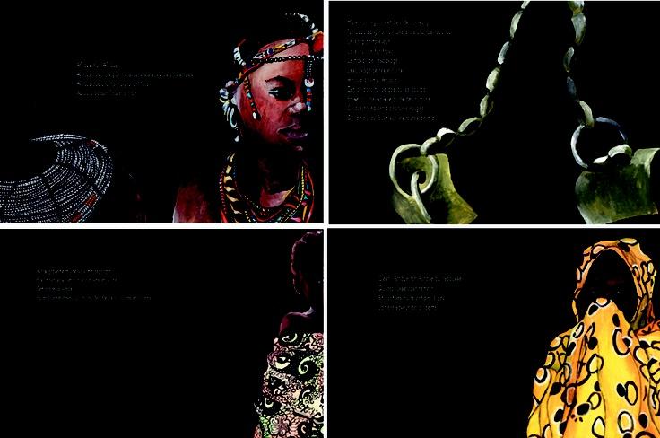 Illustration de Celine Rams du poème Afrique de David Diop, poète Sénégalais.  Gouache
