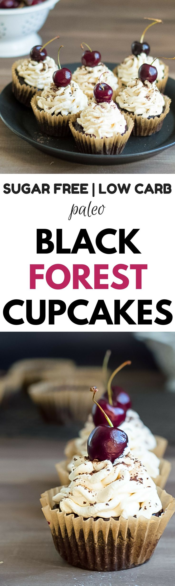 Black Forest Cupcakes that are homemade and stuffed with a cherry filling. Healthy, easy, gluten free, dairy free black forest cupcakes.