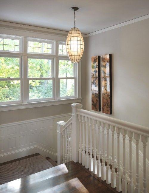 Benjamin Moore Grant Beige HC-83. Good beige that leans towards gray. Also love the light!