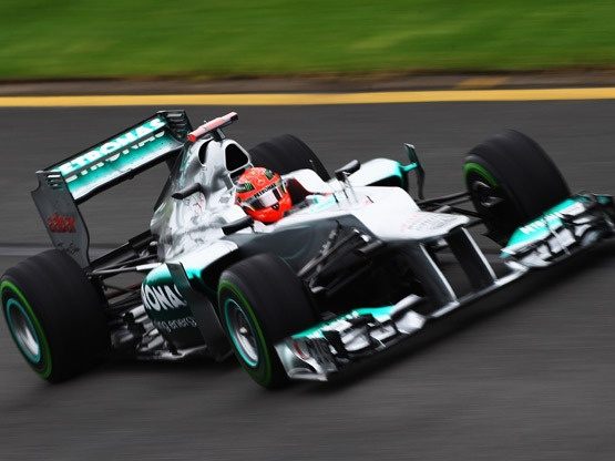 2012 Australian F1 GP: Michael Schumacher fastest in second free practice :Michael Schumacher in his Mercedes GP edged Nico Hulkenberg of Force India in the dying moments of the second free practice to top the charts, at the Albert Park for the season opener in Australia.