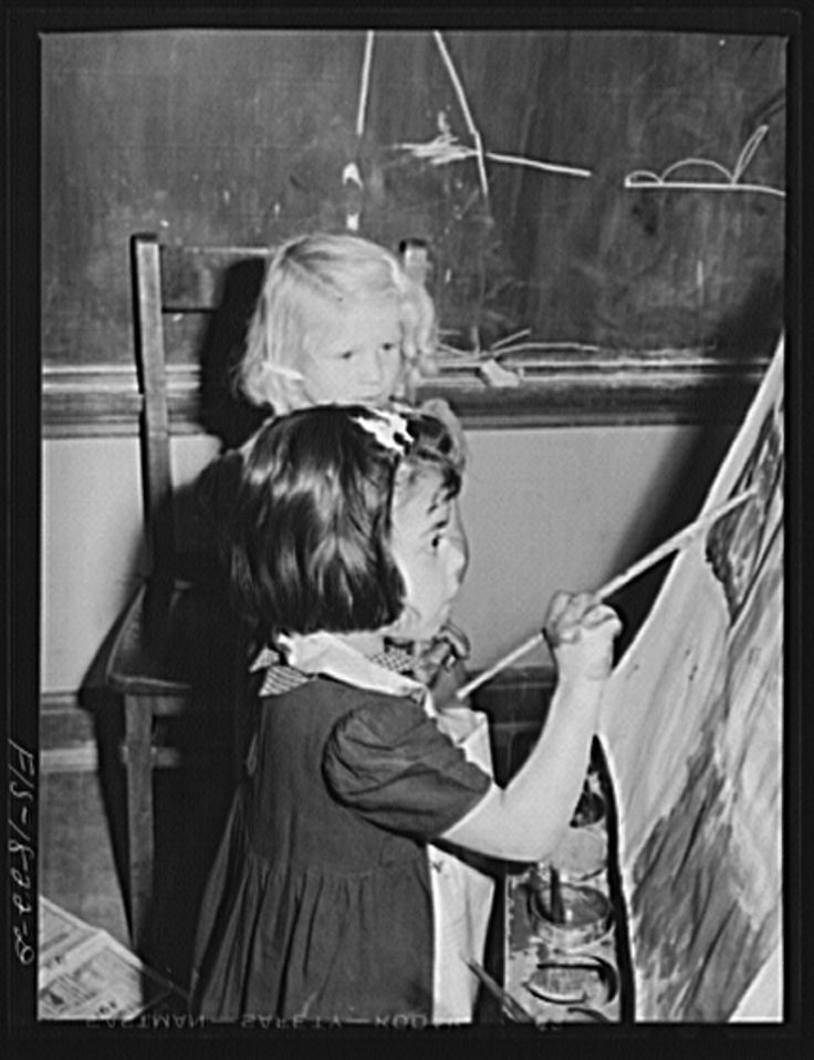 San Leandro, California. Little girl of Portuguese descent in the kindergarten of the grade school. Russell Lee.  1942.