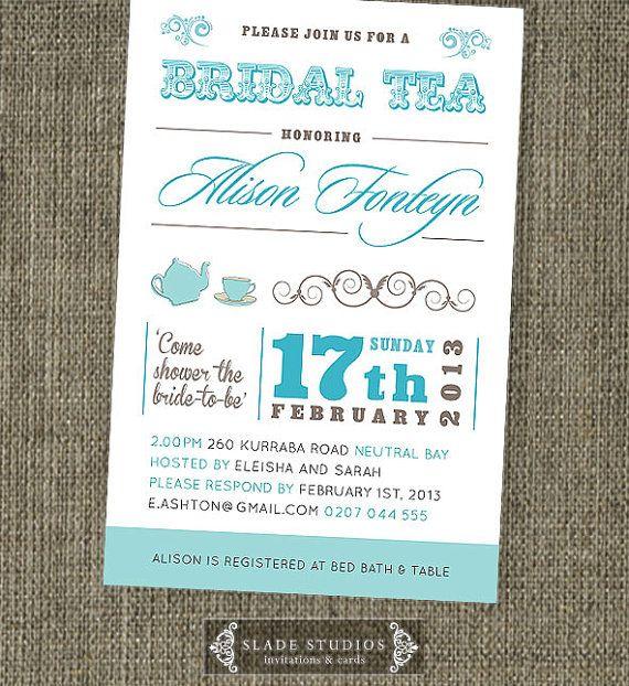 Bridal Tea invitations Bridal Shower invitations by SladeStudios, $20.00