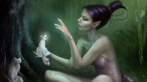 Preview wallpaper girl, fairy, wood, cats 1366x768