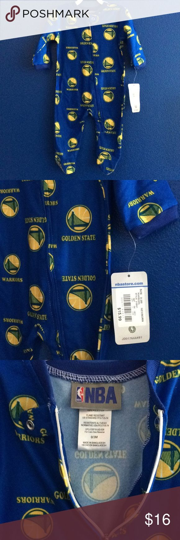 NWT SF golden state warriors NBA footed pajama Brand New with tags. NBA brand. San Francisco golden state warriors team fan onesie. Footed pajama for baby. Boy or girl. Gender neutral. Zip up. Super cute thin flannel material. Warm and cute for the bay weather. Size newborn 0-3 months. Bundle with other items in my closet and save 20%. NBA One Pieces Footies