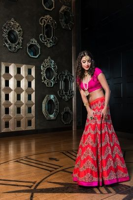 Light Lehengas - Hot Pink and Red Lehenga | WedMeGood Here is a gorgeous hot pink blouse and a bright red silk lehenga with hot pink border and silver zig zag designs. #wedmegood #pink #red #lehengas