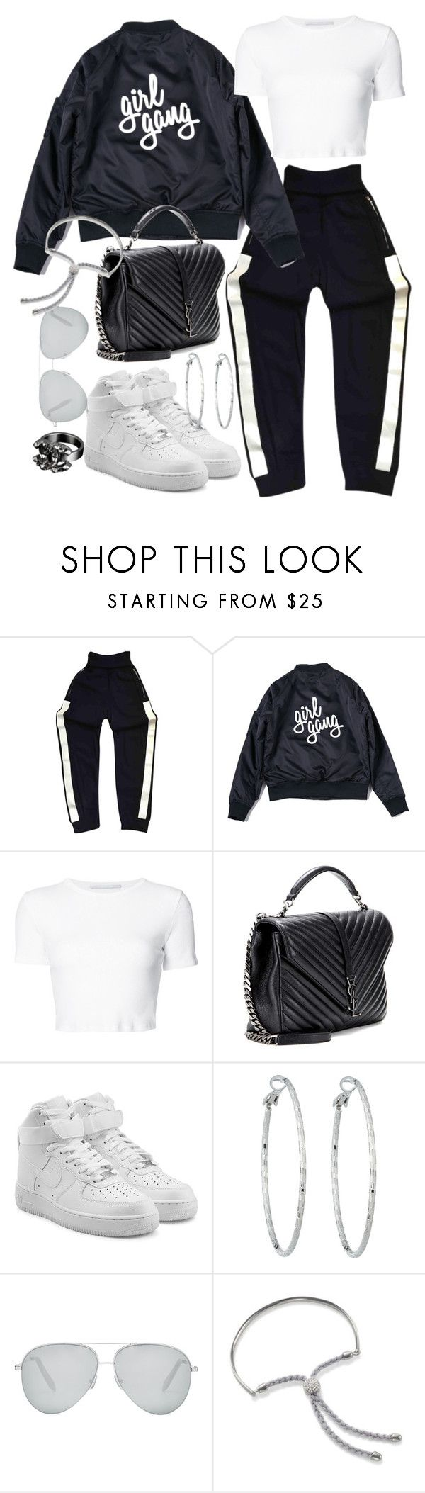 """""""Untitled #20931"""" by florencia95 ❤ liked on Polyvore featuring Chanel, Rosetta Getty, Yves Saint Laurent, NIKE, Lydell NYC, Victoria Beckham and Monica Vinader"""