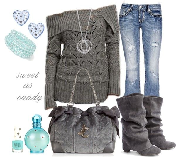 """gray sweater..."" by sweetlikecandycane on Polyvore"