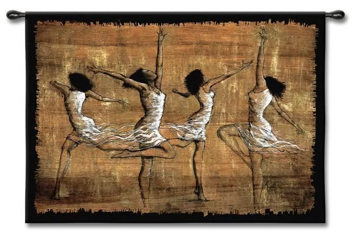 "Festive African Dancers Wall Tapestry  W/Rod  35""x52""  Dance Music"