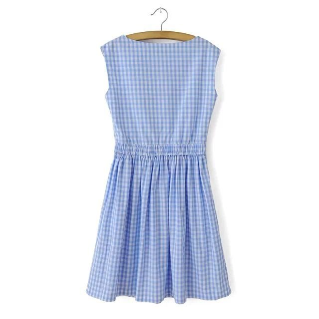 summer 2014 dress za women European style summer sleeveless dress wholesale simple blue and white squares WXC 027 famous brand-in Dresses from Apparel & Accessories on Aliexpress.com | Alibaba Group Splashtablet iPad Case RP. Suction-Mount your iPad in the Shower! http://www.amazon.com/dp/B00TG1FFLS