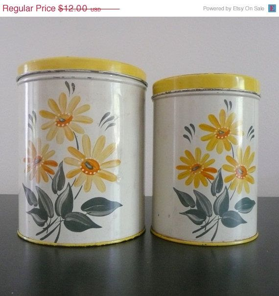 On Sale Yellow Colorware Tin Canisters, Daisy Flowers