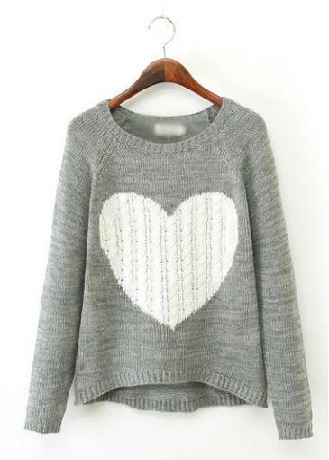 Heart Pattern Grey Asymmetric Hem Sweater - USD $26.85