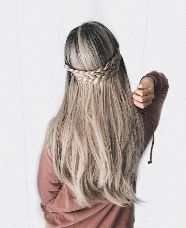 Long straight hair is always in fashion and to stop to look bored you can fresh up it with some nice braid or effective hairpins.