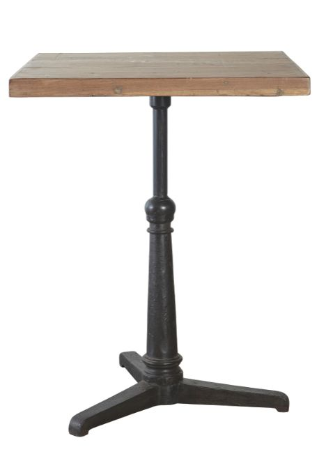Industrial chic Coffee Shops, bistro tables | bistro table description an industrial chic iron square bistro table ... I was thinking round bistro tables but i like the leg on this and it would work with metal stools