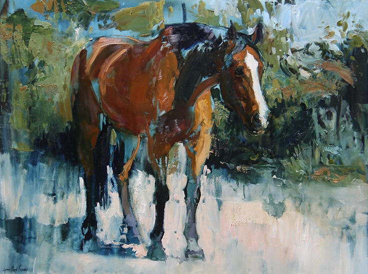 A Horse named Aqua, oil painting by Lynne-Marie Eatwell, South African Artist based in Cape Town. Equine Art,