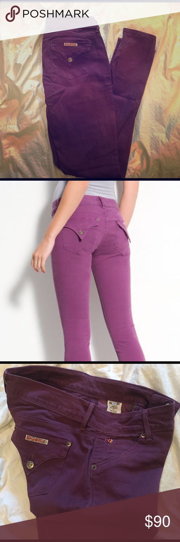 Hudson Skinny Jeans - Purple Purple skinny jeans by Hudson featuring button down back pockets and 2 front buttons with a zip closure. Excellent quality, no rips, stains, tears. Hudson Jeans Jeans Skinny