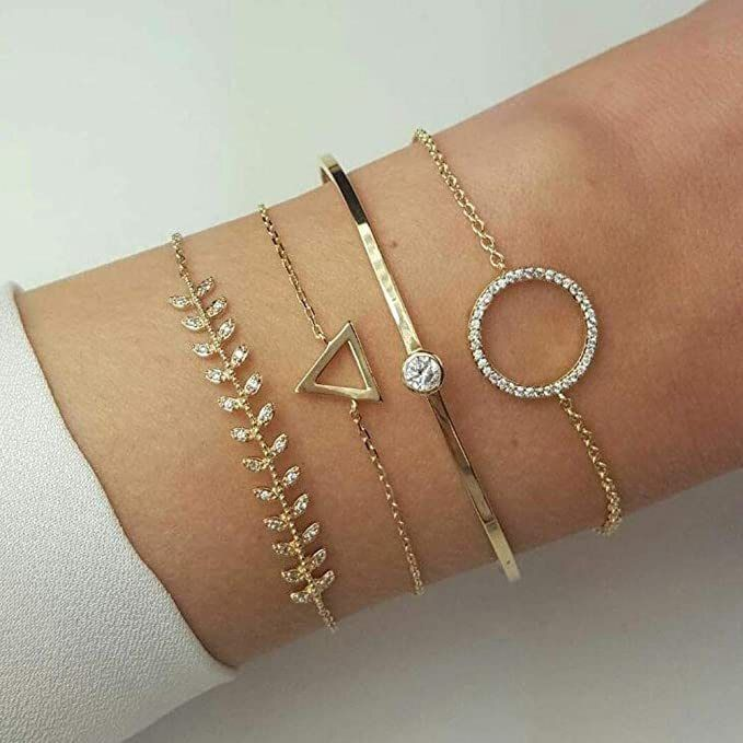 Gold Jovono Bohemian Anklets with Rhinestone Simple Fashion Bracelets for Women and Girls(1 PCS)
