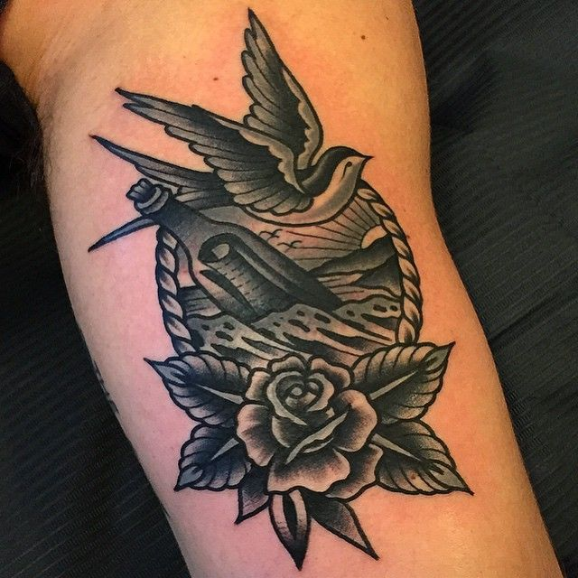 Old school bird and flower tattoo by Samuele Briganti