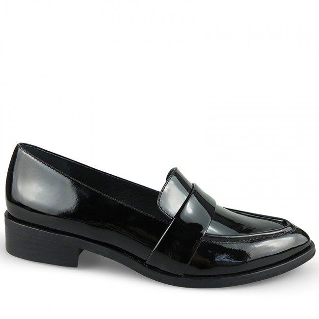 WITTNER Katia Loafer Model No: 216204.0 Crafted from glossy black patent, these contemporary loafers add some serious laid back luxury to any outfit.  2.2cm / .87 Inch Block Heel Black Wood Look Wrapped Stack Heel Pointed Closed Toe Pull On Style Black Patent Leather Upper Leather Lining Single Layer Padded Footbed Resin Sole