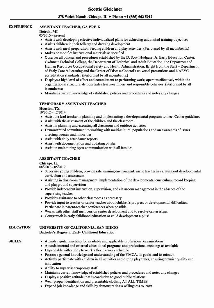 Teacher assistant Job Description Resume Luxury assistant