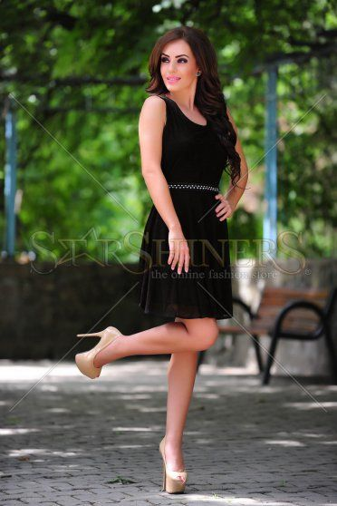 PrettyGirl Ornate Black Dress