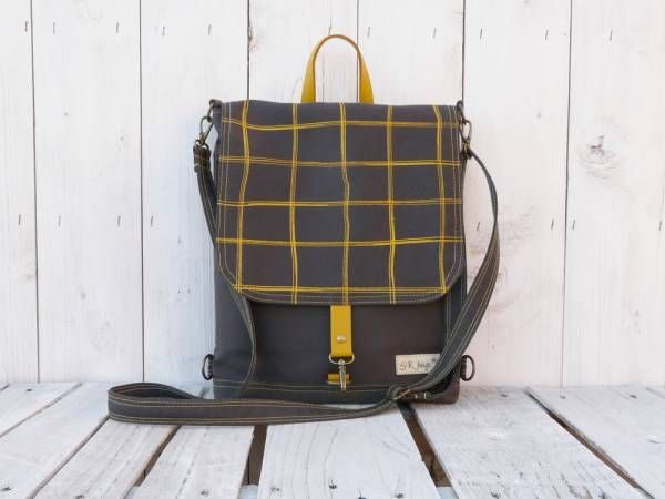 Handmade Canvas Backpack - Medium Grey Plaid Design