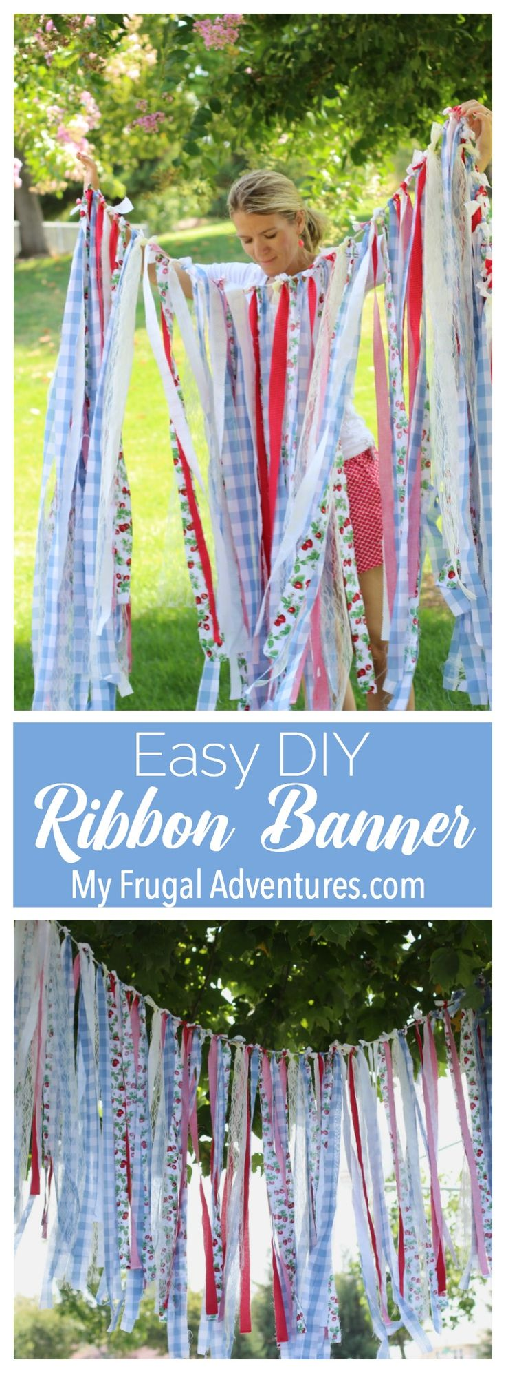 Super simple DIY ribbon banner- perfect party backdrop or an easy accent for a…
