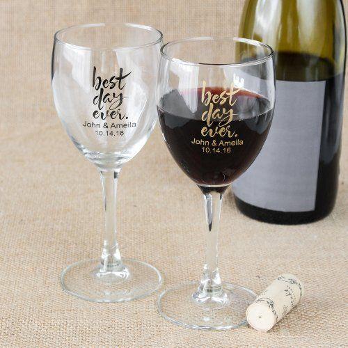 Personalized 8 5 Oz Wine Glass I Bestdayever Cheers Wedding Wedding Favors Wine Glasses Wine Glass Favors Personalized Wine Glasses