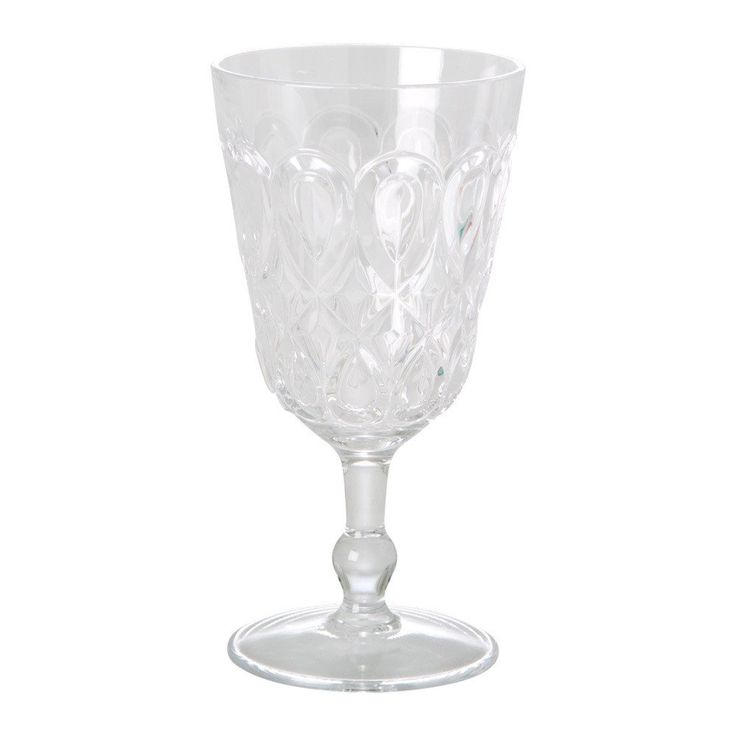 Swirly Embossed Wine Glass - Clear