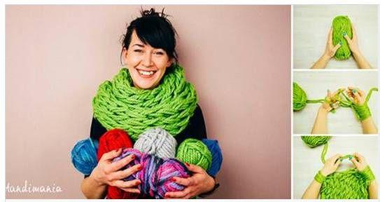 Bufanda infinito, se teje con las manos en 30 minutos! Hand knitting infinity scarf in 30 minutes!